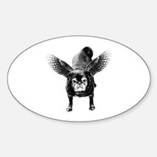 Pug Angel Oval Decal