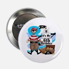 "Pirate's Life 6th Birthday 2.25"" Button"