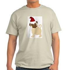 Santa Pug Ash Grey T-Shirt