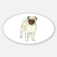 Happy Pug Oval Decal