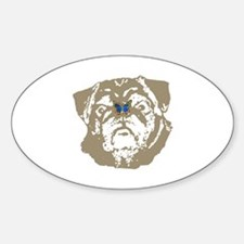 Pug and Butterfly Oval Decal