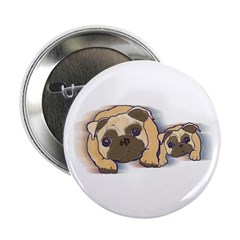 Two Pugs Together Button