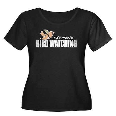 Bird Watching Women's Plus Size Scoop Neck Dark T-