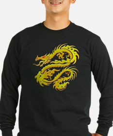 Awesome Gold Dragon Long Sleeve T-Shirt