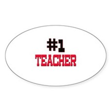 Number 1 TEACHER Oval Decal