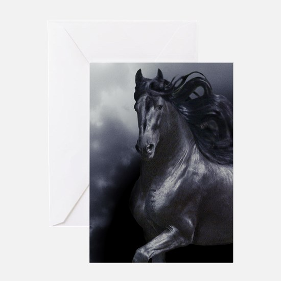 Friesian w/storm clouds Greeting Cards