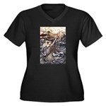 Mermaid Art Women's Plus Size V-Neck Dark T-Shirt