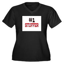 Number 1 STUFFER Women's Plus Size V-Neck Dark T-S