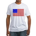 Cat Tracks Hidden in Flag Fitted T-Shirt