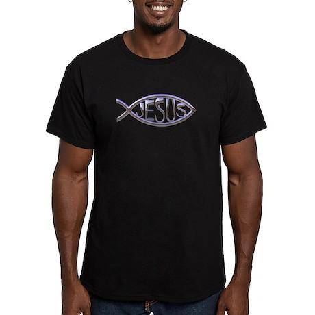SILVER JESUS FISH Men's Fitted T-Shirt (dark)