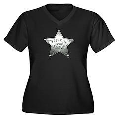 The Stinkin Badge Women's Plus Size V-Neck Dark T-