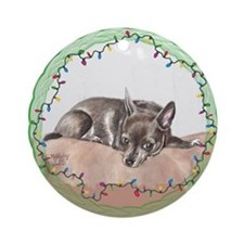 Chihuahua Christmas Ornament (Round)