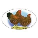 GL Wyandotte Rooster and Hen Oval Sticker
