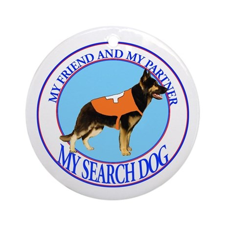 black and tan GSD partner Ornament (Round)