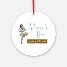 Brunette Mom's Diner Ornament (Round)