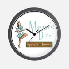 Brunette Mom's Diner Wall Clock
