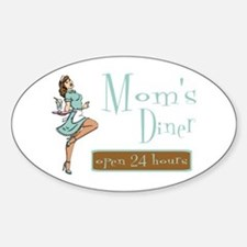Brunette Mom's Diner Oval Decal
