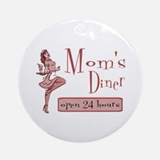 Red Mom's Diner Ornament (Round)