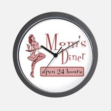 Red Mom's Diner Wall Clock