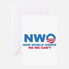 No Obama NWO No we can't Greeting Card
