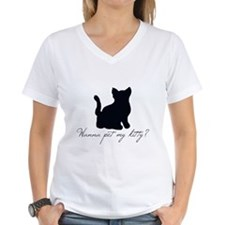 """Wanna pet my kitty?"" V-Neck Shirt"