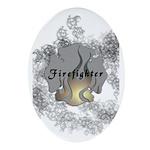 Firefighter Tattoo Oval Ornament