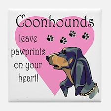 Coonhounds Pawprints Tile Coaster