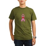 Pink Ribbon with heart Breast Organic Men's T-Shir