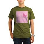 Pink Ribbon Butterfly Organic Men's T-Shirt (dark)