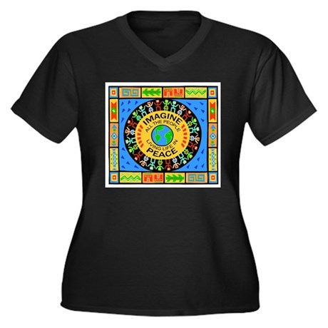 World Peace Women's Plus Size V-Neck Dark T-Shirt