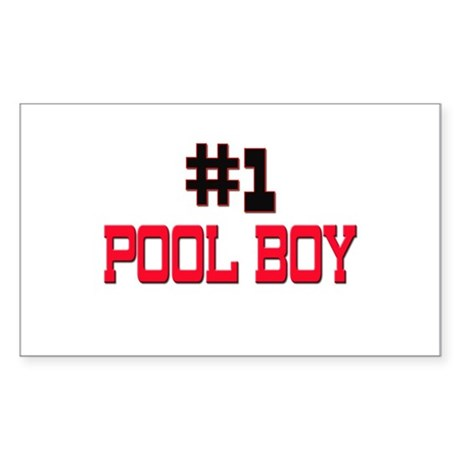 Number 1 POOL BOY Rectangle Sticker