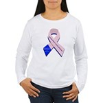 Male Breast Cancer Women's 2-sided Long Slve T