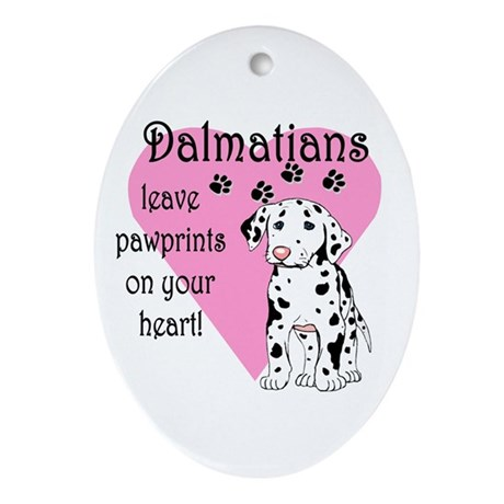 Dalmatian Pawprints Oval Ornament