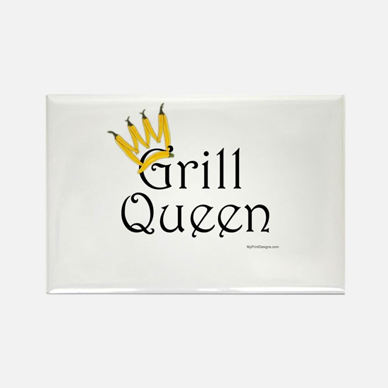 Grill Queen (yellow pepper crown) Rectangle Magnet