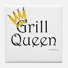 Grill Queen (yellow pepper crown) Tile Coaster