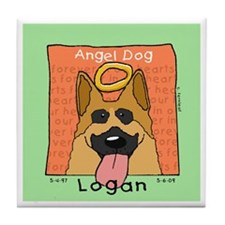Angel German Shepherd LOGAN Tile Coaster