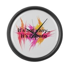 It's Not Easy - Karate (pink) Large Wall Clock