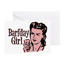Red Barfday Girl Greeting Card