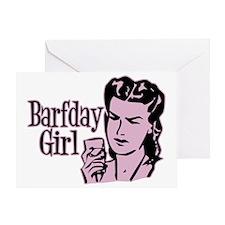 Pink Barfday Girl Greeting Card