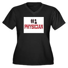 Number 1 PHYSICIAN Women's Plus Size V-Neck Dark T