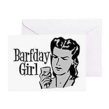 Grey Barfday Girl Greeting Card