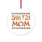 Cute Shih Tzu Mom Ornament (Round)