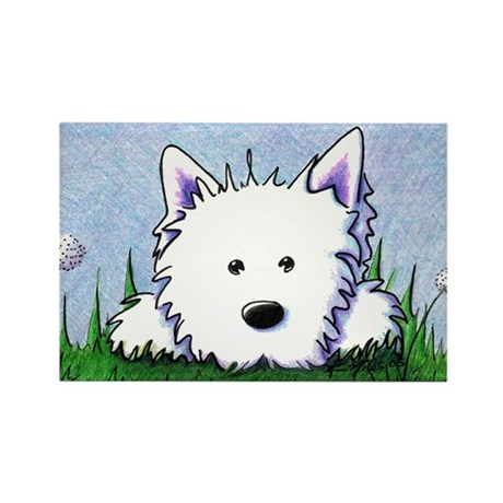 Smiling Spring Westie Rectangle Magnet