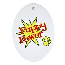 Puppy Power Oval Ornament