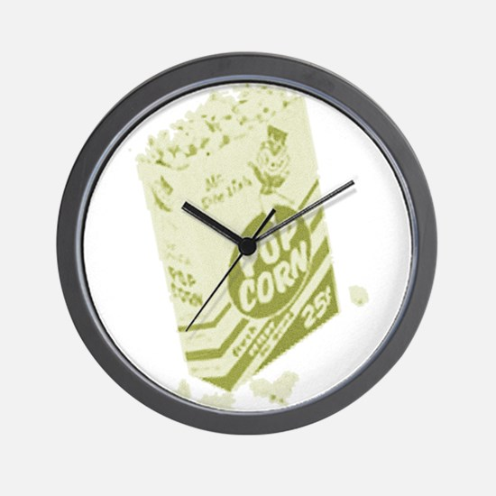 Yellow Retro Drive-in Popcorn Wall Clock