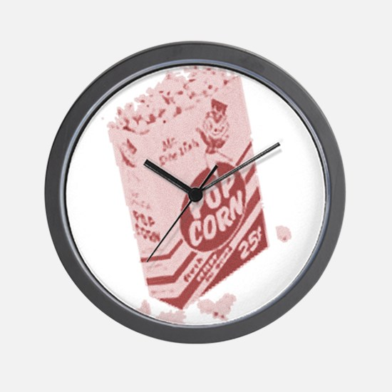 Red Retro Drive-in Popcorn Wall Clock