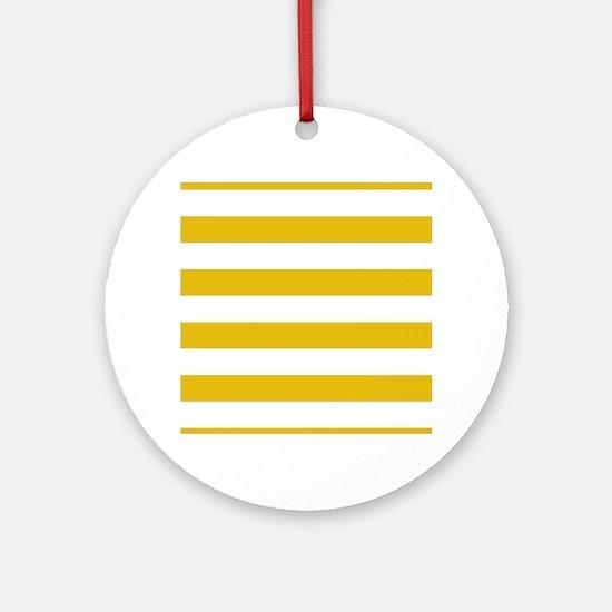 Mustard Yellow Horizontal Stripes Round Ornament