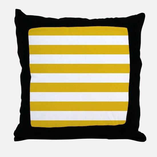Mustard Yellow Horizontal Stripes Throw Pillow