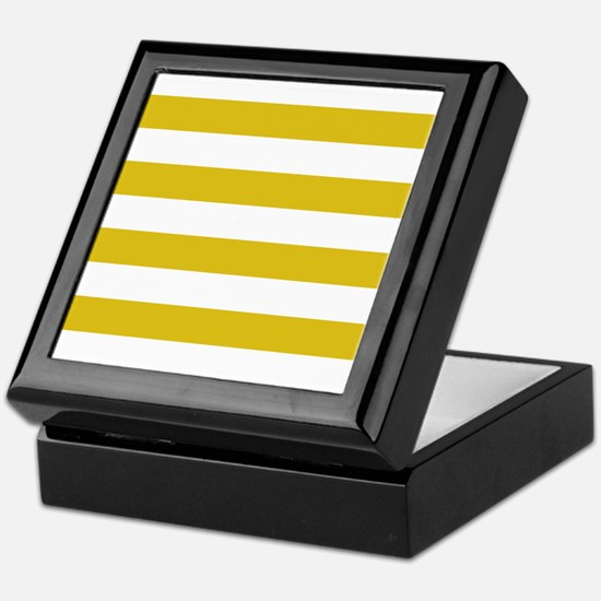 Mustard Yellow Horizontal Stripes Keepsake Box