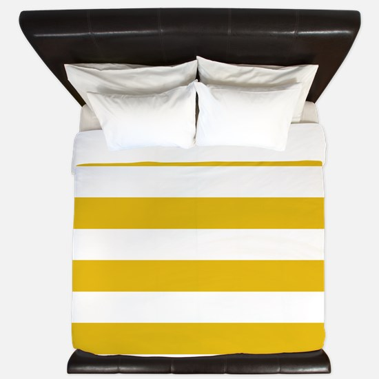 Mustard Yellow Horizontal Stripes King Duvet